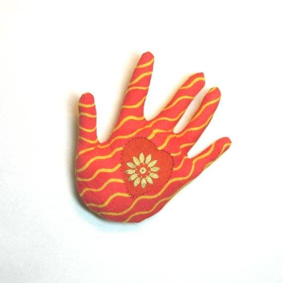 Sun Rays Hamsa Brooch ~ Heart in Hand Pin ~ Ready to Ship