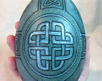Celtic Cross heartknot knotwork themed emu egg art etched for multiple layers of real emu egg shell