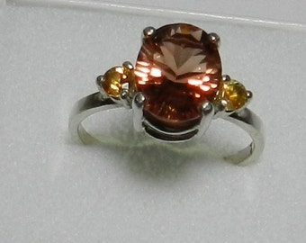 Oregon Sunstone, Montana Sapphires and sterling silver ring    #26