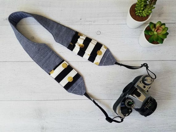 Cute Camera Strap with Pockets | Padded and Contoured Blue Chambray DSLR Strap with Black and White Striped Lens Cap Pockets