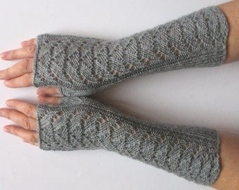 """Long Fingerless Gloves Gray 11"""" Arm Warmers Mittens Soft Acrylic"""