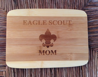 Eagle Scout Mom or Mentor - Bamboo Cutting Board 8 x 6