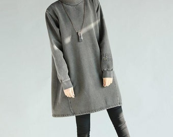 Gray/ blue/ coffee color High collar large size  pullover dress