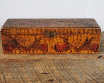 Vintage Pyrography Wooden Box Glove or Trinket