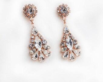 Rose Gold Earrings, Bridal Earring  Swarovski Bridal Earrings Bridal Drop Earrings Gold Crystal Drop Earrings Vintage Bridal Earrings Bridal