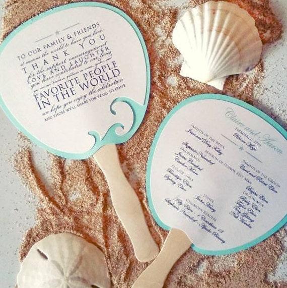 Wedding Fan: Program Fan Beach Wedding Program By BlushandBirchPaper On