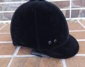 Vintage equestrian riding helmet small black velvet sports hat outdoor gear horse cap