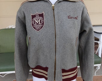 vintage Varsity coat high school letterman 1960's Manheim Central Pennsylvania wool retro