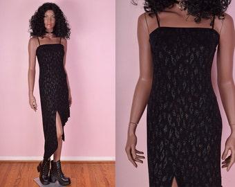 90s Leopard Print Glitter Dress/ Medium/ 1990s