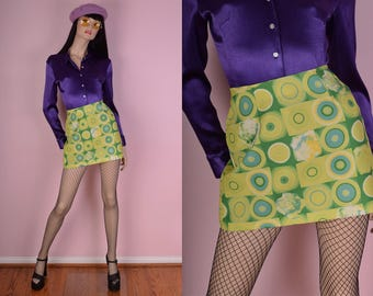 90s Green Psychedelic Print Mini Skirt/ US 5/ 1990s/ Club/ Rave/ Festival/ Floral