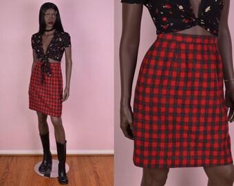 80s Gingham Skirt/ US 5-6/ 1980s