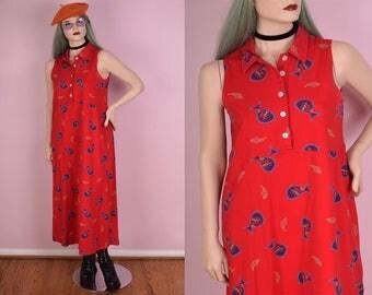 90s Fish Print Knit Dress/ Large/ 1990s
