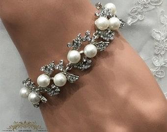 Bridal bracelet, Wedding jewelry,bridal jewelry, Pearl bracelet, bridesmaid bracelet,bridal jewelry,Wedding bracelet, rhinestone bracelet
