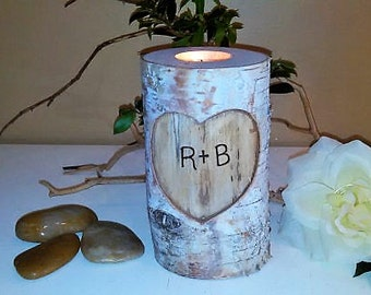 Birch log candle - Wedding candle - Tree branch candle - Anniversary candle - Heart candle - Unity - Birch candle