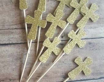 Gold Cross, cupcake toppers, baptism, first communion, bautizo, primera comunion, Set of 12