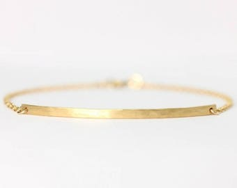 Long curved gold bar bracelet - 14k gold filled curved bar bracelet