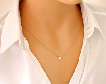 Perfect Pearl Necklace - single pearl necklace, button freshwater pearl necklace, gold filled, rose gold filled or sterling silver chain