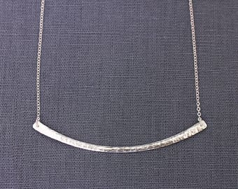 Bar Necklace - .999 pure silver bar necklace, hammered bar necklace, curved bar necklace, sterling silver chain