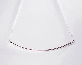 Pure Silver Curved Bar Necklace - .999 fine silver bar necklace, long bar necklace, curved bar necklace, sterling silver chain