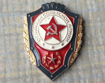 """Vintage Soviet Russian army uniform badge,pin.""""Soviet Army Excellent Soldier Award"""""""