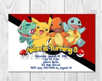 Pokemon Printable OR Printed Birthday Invitation; Pikachu; Pokemon GO Invitations