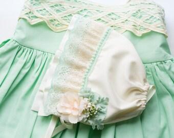 Baby Bonnet - Mint Green - M2M Well Dressed Wolf - Newborn Photo Prop - Vintage Inspired Prop - Baby Hat - Newborn Bonnet - Sun Bonnet