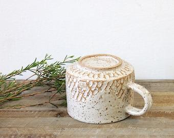 Textured POttery Mug, Handmade Ceramic Mug, Ceramic Coffee Mug, Coffee Cup