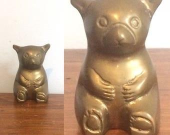 Vintage Brass Bear Figurine / Panda    Statue / Metal Bear Sculpture