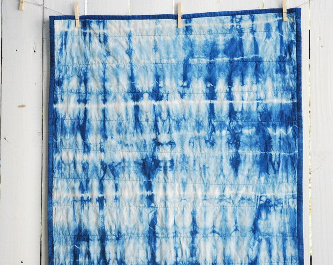 Organic Wholecloth Quilt - Hand Dyed Indigo Quilt, Tie Dyed Quilt, Indigo Blue, Made to Order