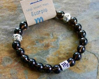 Scorpio Zodiac Bracelet, Smoky Quartz Bracelet, Astrology Bracelet, Zodiac Jewelry, Brown Bracelet, Boho Bracelet