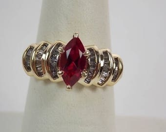 Ruby and Diamond Ring 1.65Ctw Yellow Gold 10K 4.6gm Size 6.25 Engagement Wedding
