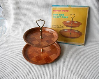 Woven wood  Tray Vintage 1960s 70s 2 Tier Tid Bit  Retro Cool 8 and 10 InchTray