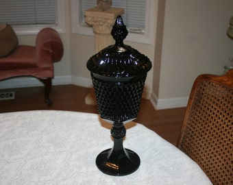 Vintage Tiara Diamond Point Black Glass Pedestal Bowl with Lid