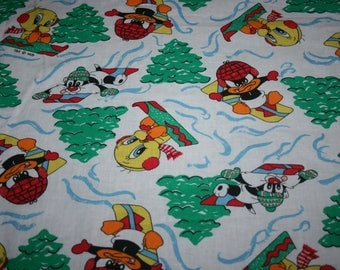 Christmas Holiday Baby Looney Tunes Warner Bros Cotton Fabric 39 by 44 inches Tweety Bird, Sylvester the Cat, Daffy Duck