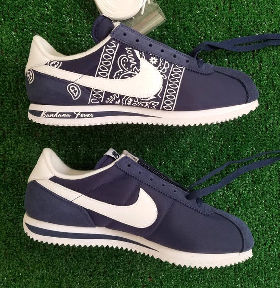 meet c2ff0 abaff ... Custom White Bandana Nike Cortez Nylon Midnight NavyWhite, FREE  SHIPPING, paisley, bandanna, ...