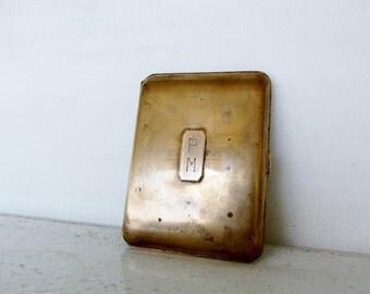Elgin Brass Cigarette Case Monogrammed PM Vintage USA