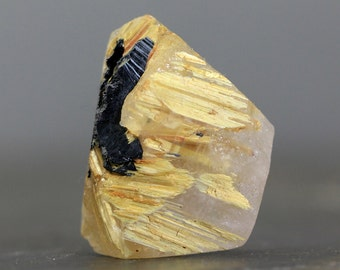 Unpolished Rough Raw Crystal Golden Star Quartz Hematite Rutile Included Gemstone Natural Jewelry Creations, Golden & Black (CA7289)