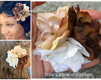 Delphinium hair flower, triple bloom hair flower, brown, cream, white, racial harmony, hair flower clip, brown hair barrette