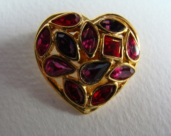 YSL Yves Saint Laurent Red and Pink Heart pin