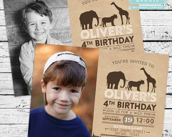 Safari Birthday Photo Invitation + Thank you Note