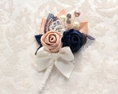 Blush Navy Blue Ivory Rosettes Boutonniere/ Wedding Lapel Pin/ Handmade Wedding Accessory