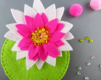 Water lily felt Flower brooch, pink felt flower, felted flower brooch, Christmas stocking filler