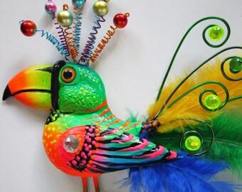 Whimsical bird art, bird wall sculpture, birds, parrot bird, fun art