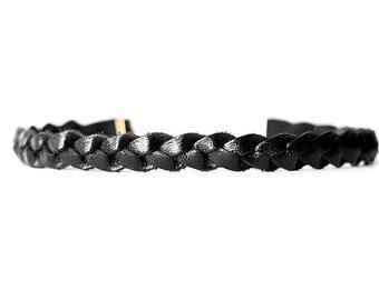 Braided Leather Choker / Necklace / Metallic Black