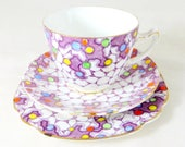 Art Deco Crazy Paving Trio, Royal Albert Purple Polkadot Spotted Handpainted Cup Saucer & Teaplate Bone China Tea Set 1940s
