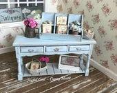 Dollhouse 1:12 Shop Display Tray Shelf French Blue Antique Shabby Chic Farmhouse
