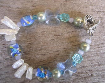 biwa pearl and artglass bracelet with pearls, blue tropical ocean bracelet