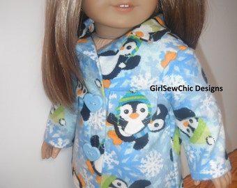 Penguin Pj's 18 Inch Doll Clothes Flannel Snowflakes