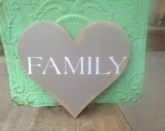 Wooden Heart Family Sign, Shabby Chic Home Decor Family Heart, Gallery Wall Family Sign