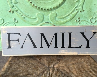 Distressed Gray and Black Family Sign, Wooden Home Decor Family Sign, Gallery Wall Family Sign